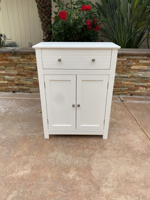 Free Standing Bathroom Cabinet with Drawer and Adjustable Shelf, Kitchen Cupboard, Wooden Entryway Storage Cabinet, 23.6 x 11.8 x 31.5 Inches, White for Sale in Chino, CA