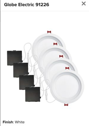 "Globe Electric 91226 White Set of 4 Ultra Slim 6"" Integrated LED Recessed Lighting - Dimmable and Insulated Ceiling Rated for Sale in Alexandria, VA"