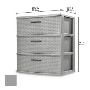Sterilite 3 Drawer Wide Weave Tower Cement for Sale in Mobile, AL