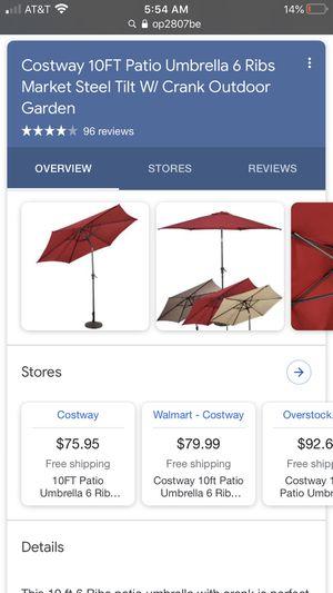 Costway 10FT Patio Umbrella 6 Ribs Market Steel Tilt W/ Crank Outdoor Garden for Sale in Pumpkin Center, CA