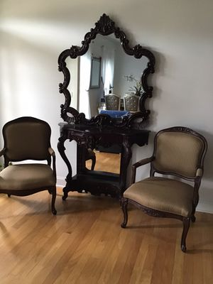 Console Table with a Mirrow and 2 Victorian chairs for Sale in Dallas, GA