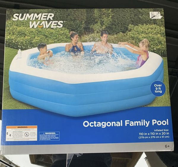 Summer Waves 10' Octagonal Inflatable Family Pool *NEW*