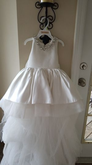 Long Tail ivory/ white sequins Back Couture Flower Girl Dress, Toddler Pageant Dress, Girl Birthday Dress for Sale in Kennesaw, GA