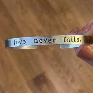 1 Corinthians 13 Bible Verse Bangle Love Never Fails Female Bracelet for Sale in Newport News, VA