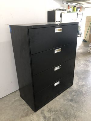 Black 4 Drawer wide Filing Cabinet storage for Sale in Kenmore, WA
