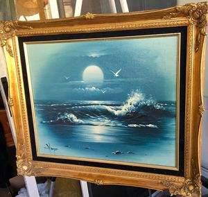 Beautiful original oil painting, Sea Scenery by Hooper; H21.5xW25.5 inch for Sale in Chandler, AZ