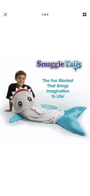 Snuggie Tails Shark Blanket Kids Gray Sleep Costume Gift One Size Velveteen for Sale in San Bernardino, CA