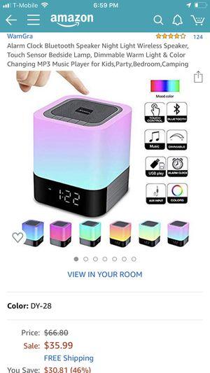 WamGra Bluetooth Speaker Alarm Clock/Multi-Color Night Light for Sale in Lynnwood, WA