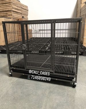 Dog pet cage kennel size 37 medium with plastic floor tray and wheels new in box 📦 for Sale in Chino Hills, CA