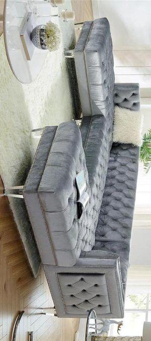 Prada gray velvet sectional sofa for Sale in Houston, TX