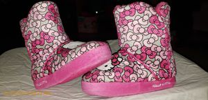 SIZE 13/1 Toddler Hello Kitty Slippers Excellent Used Condition. Daughter doesn't like wearing anything on her feet, So maybe worn a total of 10mins. for Sale in Wyandotte, MI
