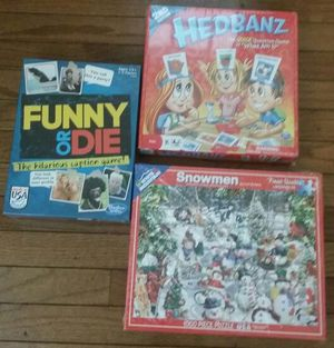 Snowmen 1000 piece puzzle, spinmaster board games Hedbanz, funny or die caption game. Choose one for $14 for Sale in Lilburn, GA