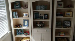 3 wood bookshelves and cabinet for Sale in Durham, NC