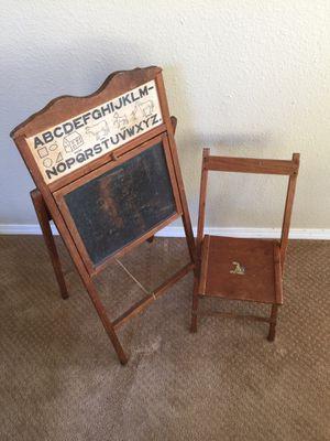 Antique Oak Children's Chalkboard flip desk with chair for Sale in Sherwood, OR