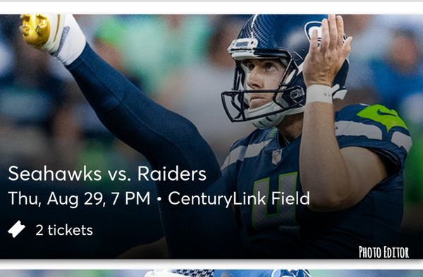 Seahawks vs Raiders tickets - 2 Lower Level