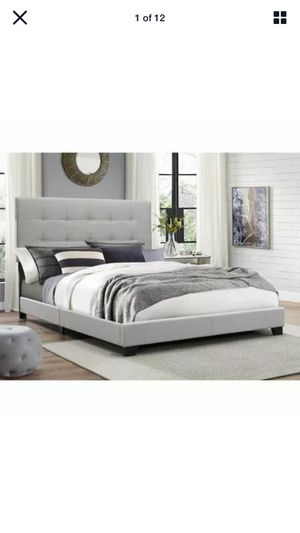 Gray King Bed Frame Tufted Headboard Platform Bed with Slat Support for Sale in Fresno, CA
