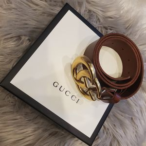 Gucci Brown Leather Double GG Edition Belt for Sale in Brooklyn, NY