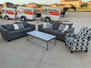 Can deliver - grey couch sofa loveseat recliner chair coffee table for Sale in Burleson, TX