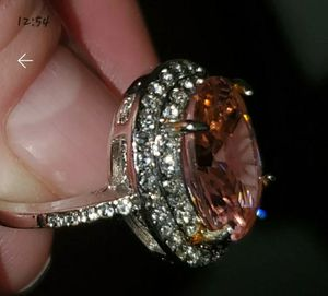 Pink and White Sapphire Sterling Silver Sz 7 Ring for Sale in Vancouver, WA