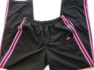 Womens Adidas Track Jogging Windbreaker Pants Black And Pink Striped Size M for Sale in Clermont, FL