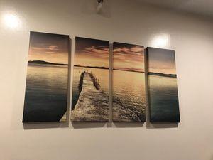 4 piece canvas wrapped ocean dock scene for Sale in Boston, MA