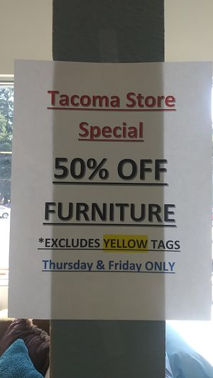50% off furniture sale. Thursday & Friday only for Sale in Tacoma, WA