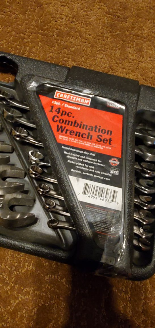 Craftsman Combination 14 piece Wrench Set with case