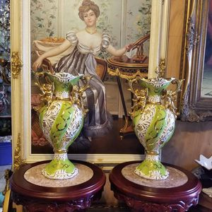 Pair of Italian porcelain vases with angels and gold details for Sale in Miami, FL