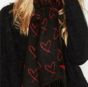 VS Winter Scarf fringed red/black hearts for Sale in Arlington, TX