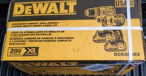 Dewalt 20v XR Brushless compact drill/driver and 3-speed impact driver combo kit for Sale in Riverview, FL