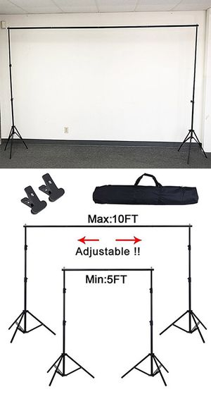 (NEW) $30 Adjustable Backdrop Stand (6.5ft tall x 10ft wide) Photo Photography Background w/ Carry Bag & 2 Clip for Sale in South El Monte, CA