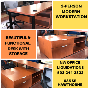 ON SALE $399 - Used - 2 person Modern Workstation with shelving and lateral storage for Sale in Portland, OR