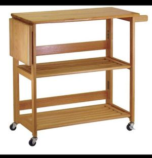 Folding Kitchen Cart with Knife Block Light oaks A8-228 for Sale in St. Louis, MO