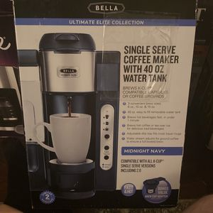 Bella Single Serve Coffee Maker With 40 Oz Water Tank for Sale in Pasadena, TX