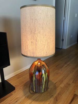 Mcm large drip glaze pottery lamp orange yellow brown mid century modern for Sale in Chicago, IL