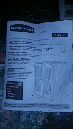 Storage Shed Rubbermaid 1W20 for Sale in Las Vegas, NV