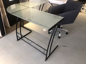 Frosted glass office l shaped desk for Sale in Rockville, MD