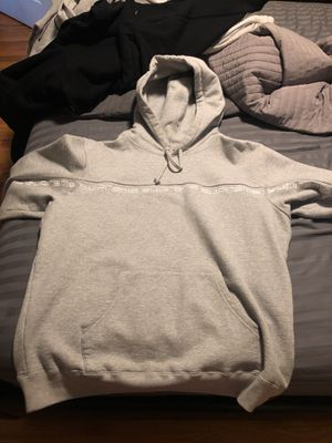 Supreme Text Stripe Hoodie Ash Grey Large for Sale in Tampa, FL