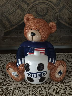 Bear Cookie Jar OREO Patriotic 6TH in Series 2002 TM Kraft Foods Red White Blue for Sale in Altadena, CA