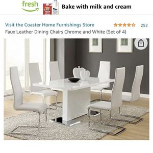 White Faux Dinner Chairs 2 for Sale in Las Vegas, NV
