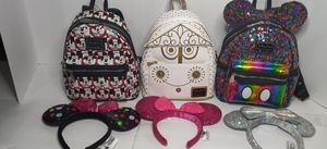 Disney loungefly collaboration mini backpack and Minnie mouse ears for Sale in Orlando, FL