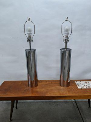 Retro Chrome Cylinder Tube Lamp Set Robert Sonneman 1970s Modern for Sale in Arvada, CO