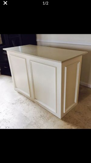 Retail counter, custom made wood w marble top ivory color $2,500 for Sale in Delray Beach, FL