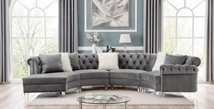 Gray velvet sectional take it with $39 down for Sale in Dallas, TX