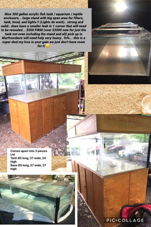 Nice 300 gallon acrylic fish tank / aquarium / reptile enclosure... large stand with big open area for filters, tank, hood, and lights !! (Lights do for Sale in Murfreesboro, TN
