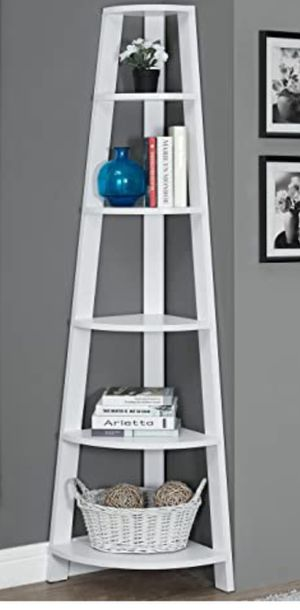 "New!! Bookcase, bookshelves, organizer, storage unit , shelving display, living room furniture, corner bookcase, 72"" H, white, for Sale in Phoenix, AZ"