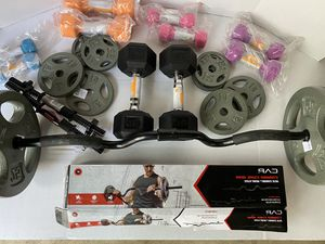 Curl Bar / Dumbbell / Weight Plate Combo for Sale in Lawnside, NJ