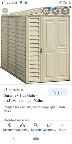 """Duramax """"Sidemate"""" 4ftX8ft Vinyl Storage Shed. Brand new for Sale in Hemet, CA"""