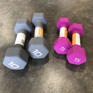 New Pair Of 5lb and 10lb Cap Rubber Hex Dumbbells for Sale in Burien, WA