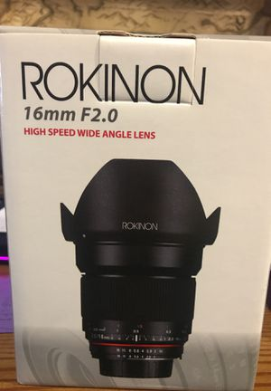 Rokinon 16mm f2.0 wide lens Canon for Sale in Salt Lake City, UT